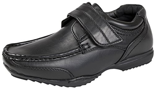 On Shoes Black 2 8 Black Formal Size Strap Adjustable Faux Slip School Boys Kids Leather E4wCqZC
