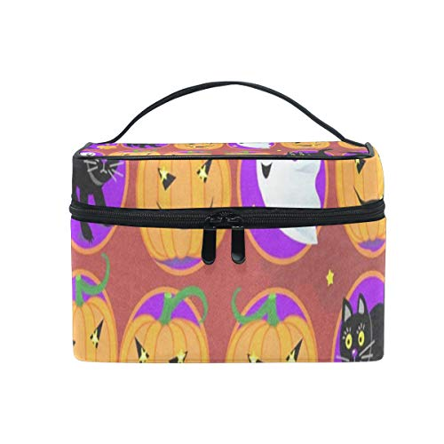 Cosmetic Bag Halloween Black Cat And Owls Womens Makeup Organizer Girls Toiletry Case Box Lazy Zip -
