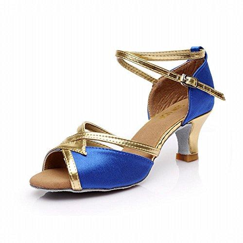 BYLE Tobillo Sandalias de Cuero Zapatos de Baile Modern Jazz Samba Presidente Adulto Trenzado Clásico Fondo Blando Satinado Alto Talón Zapatos de Baile Latino Baile Social Azul 5CM Onecolor