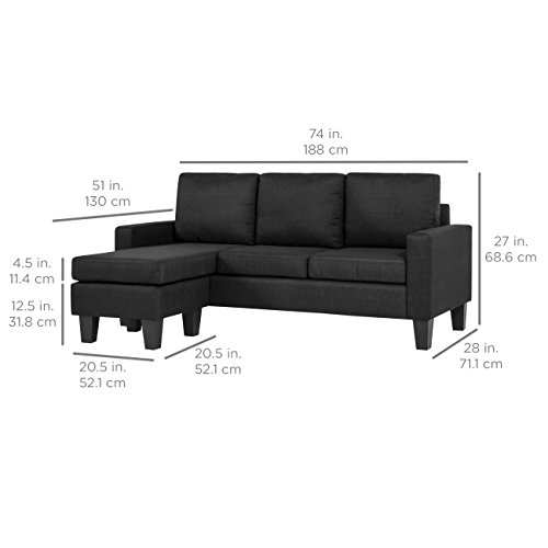 Best Choice Products Multifunctional Linen 3-Seat L-Shape Sectional Sofa Couch w/Reversible Chaise Ottoman - Black