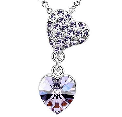 (Fashion Womens Heart Purple Crystal Rhinestone Silver Chain Pendant Necklace A1)