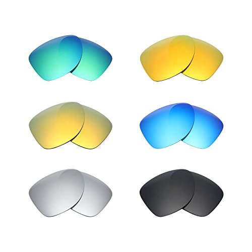 Mryok 6 Pair Polarized Replacement Lenses for Oakley Dispatch 2 Sunglass - Stealth Black/Fire Red/Ice Blue/Silver Titanium/Emerald Green/24K - Oakleys Dispatch 2