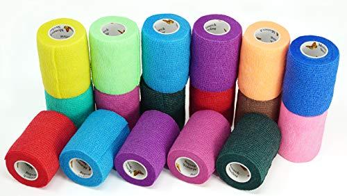 Elasti-Wrap 3 Inch Breathable, Self-Adherent, Self Adherent Cohesive Bandage Vet Wrap Assorted Colors (6, 12, 18 & 24 Packs) (18 Rolls)