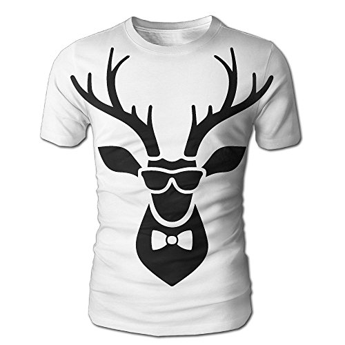 Deer Head Icon With Sunglasses and Bow Tie Men's 3D Short Sleeve - Sunglasses Amour Under