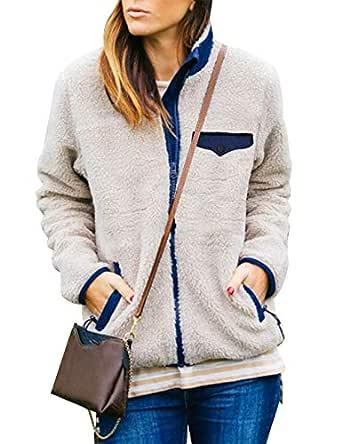 MEROKEETY Womens Long Sleeve Full Zip Sherpa Jackets Patchwork Fleece Coat with Zipper Pockets Beige
