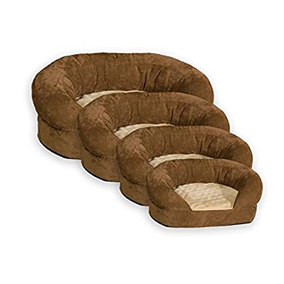 "K&H PET PRODUCTS Ortho Bolster Sleeper Pet Bed, XLarge 50"" Round, Brown Velvet"
