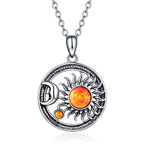 TRENSYGO Sun Moon Pendant Necklace for Women Men 925 Sterling Silver Oxidized Vintage Wiccan Galaxy Celestial Jewelry ()