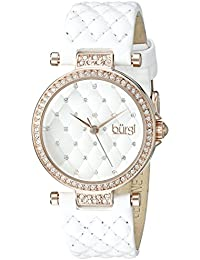 Women's BUR154WTR Rose Gold Quartz Watch with Swarovski Crystal Accents and White Dial With White Quilted Satin Strap