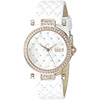 Burgi Women's BUR154WTR Rose Gold Quartz Watch with Swarovski Crystal Accents and White Dial With White Quilted Satin Strap