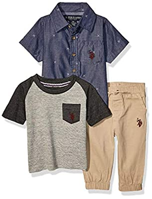 U.S. Polo Assn. Baby Boys Short Sleeve Woven, Pocket T-Shirt, and Jogger Set