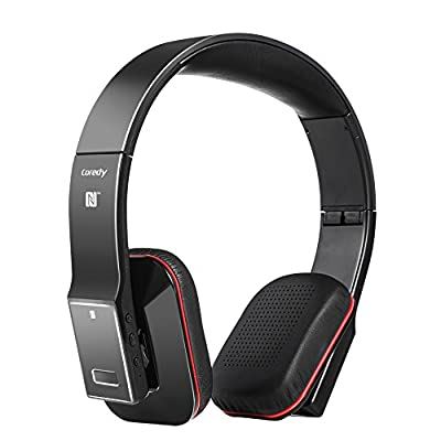 Coredy BASE-2 Portable Lightweight Bluetooth 4.0 Wireless Hi-Fi Headphones Headsets Foldable Design with Hard EVA Case Equipped with AptX Codecs NFC Rechargeable for Streaming Music up to 17 hours MIC for Hands-free Calling Noise Cancellation for TV iPhon
