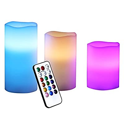 SONGMICS Set of 3 LED Flameless Candles Multi Color with Remote Control and Timer, UFLC75C