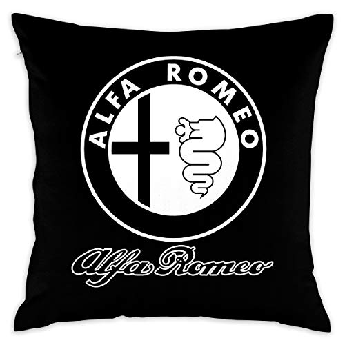 XIA WUEY Cotton Throw Pillow Case Alfa Romeo Logo Decorative Cushion Covers Daily Sofa Throw Pillow Case for Couch, Sofa, Office Chairs, Cars, Bars 18 X 18 Inch, 1 Piece