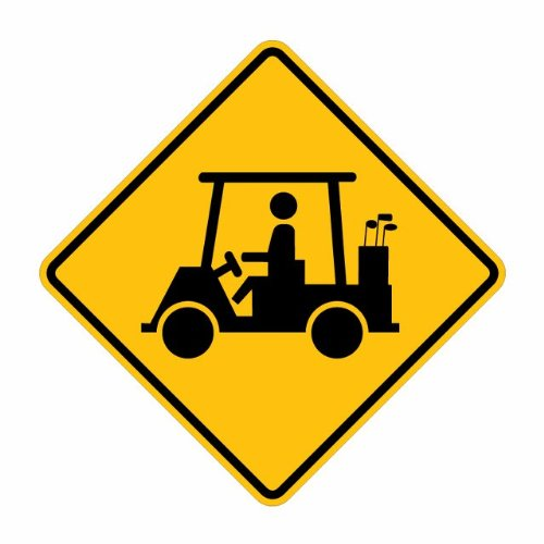 "Tapco W11-11 Engineer Grade Prismatic Warning Sign, Legend ""Golf Cart Crossing (Symbol)"", 24"" Width x 24"" Height, Aluminum, Black on Yellow"