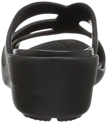 Black Bout Sandales Femme Crocs Noir Ouvert Wedge Strappy Sanrah np8x86zH