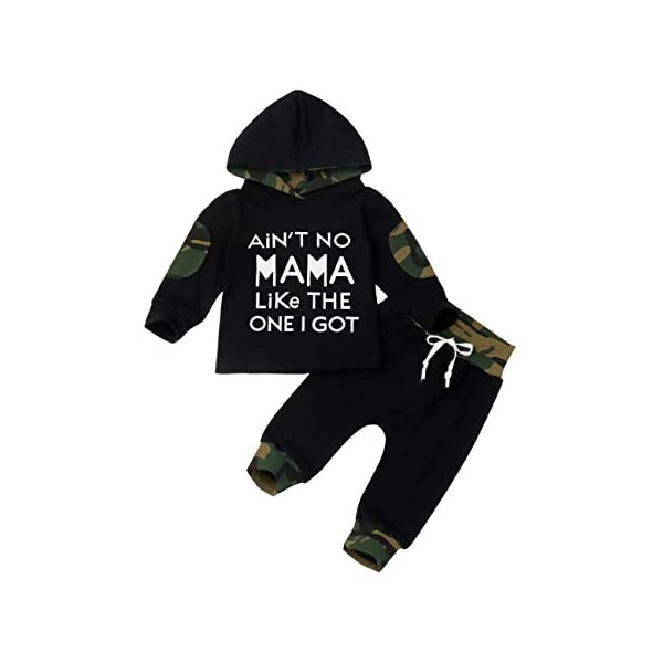 Baby Boy Clothes Funny Letter Printed Long Sleeve Hoodie Tops Sweatsuit and Camouflage...