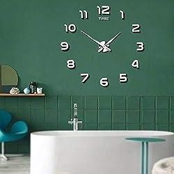 Frameless Large 3D DIY Wall Clock Mute Mirror Stickers Home Office School Decoration(2-Year Warranty) (Silver-012)