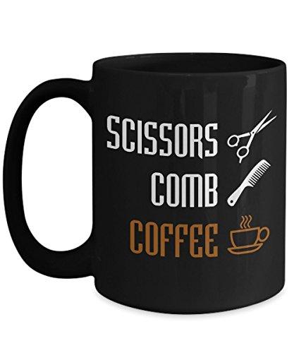 Funny Hairstylist Gifts T-Shirt, Scissors Comb Coffee Black coffee mug