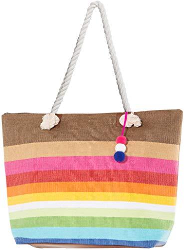 Large Zipper Top Stripe Straw Look Beach Bag Tote - 20