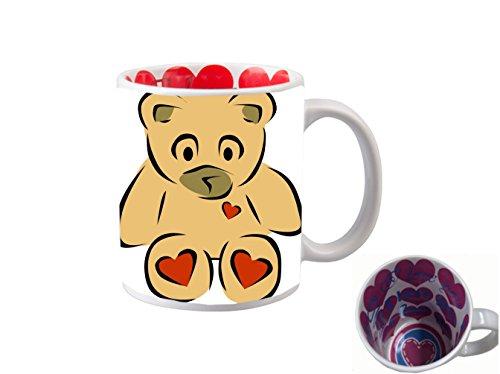 I LOVE YOU INSIDE PRINT 11 ounce Ceramic Coffee Mug Tea Cup/Vinyl Decal Printed Design Teddy Bear with Hearts