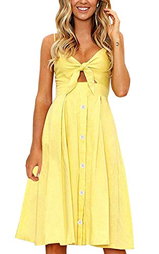ECOWISH Womens Dresses Summer Tie Front V-Neck Spaghetti Strap Button Down A-Line Backless Swing Midi Dress 1603 Yellow XL ()