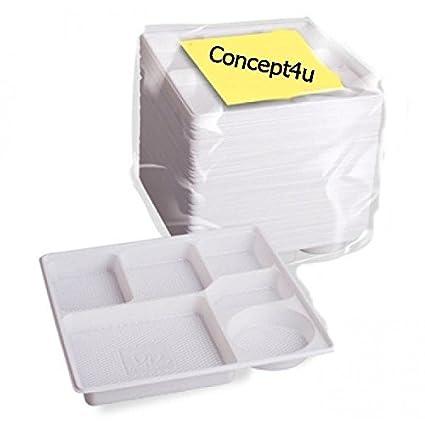 100 gbroth bigdug compartimiento de 6 platos de plástico desechables para alimentos burrda sección bandeja de