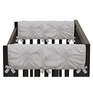 Solid Color Grey Shabby Chic Side Crib Rail Guards Baby Teething Cover Protector Wrap for Harper Collection by Sweet Jojo Designs – Set of 2