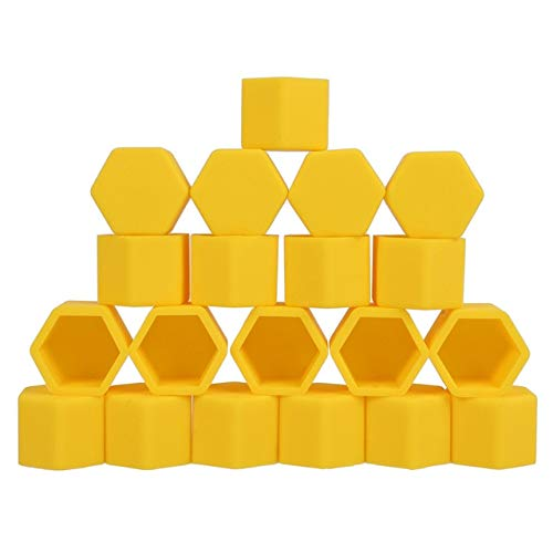 Melva R. Schwartz Wheels & Accessories, Car Styling 20pcs Silica Gel Wheel Nuts Covers Protective Caps Car Wheel Hub Screw Nut Decoration Protector - Yellow 21mm ()