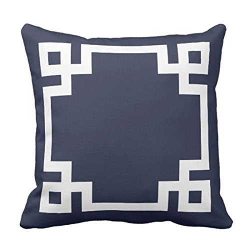 Greek Design Square Gold (Emvency Throw Pillow Cover Cute Preppy Navy Blue and White Greek Key Girly Decorative Pillow Case Home Decor Square 20 x 20 Inch Pillowcase)