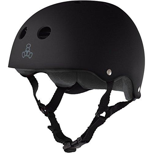 Triple 8 Brainsaver Rubber Helmet with Sweatsaver Liner (Black Rubber/Grey Liner, Medium)