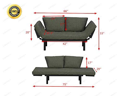 LIBYOU_Futon Sofa Sleeper,Upholstered Sofa,Loveseat,Convertible Sofa Bed, Lounger,Adjustable Armrests Sofa Bed,Futon Sofa Bed,Lounge Couch,Sofa for Room,Living Room Furniture