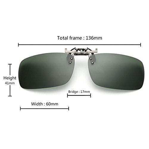 de unisexe polarisé Vert soleil de pêche pour myopie conduite les sur clip lunettes lunettes des extérieure Aiweijia Foncé EPwadqnxq