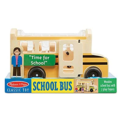 Melissa & Doug Wooden School Bus (Classic Toy Play Set, 7 Play Figures, Great Gift for Girls and Boys - Best for 3, 4, 5, and 6 Year Olds): Melissa & Doug: Toys & Games