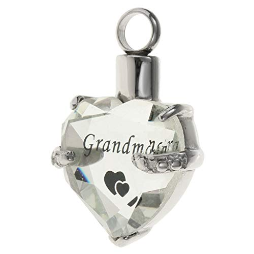 Heart Cremation Urn Pendant for Pet Human Ash Urn Jewelry Memorial Necklace Jewelry Crafting Key Chain Bracelet Pendants Accessories Best| Color - Grandma (Pewter Face Pendant)