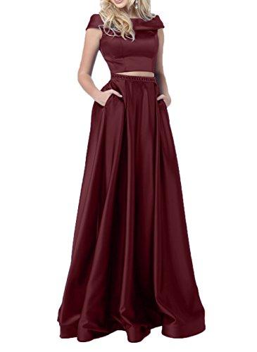 Charmant Kleider Burgundy Abendkleider Festlichkleider Jugendweihe Satin Ballkleider Langes Promkleider Damen Elegant rq60Br