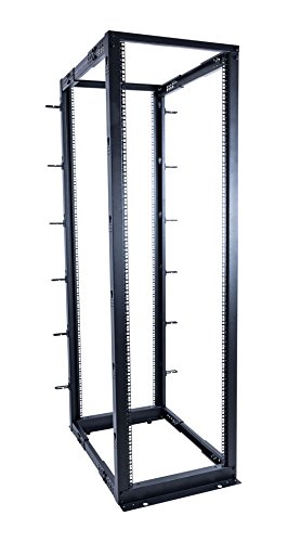 Housing Leveling Screw - Lone Star Racks 42U Adjustable Open Frame 4-Post Server Rack with Leveling Feet and Cable Management Hooks