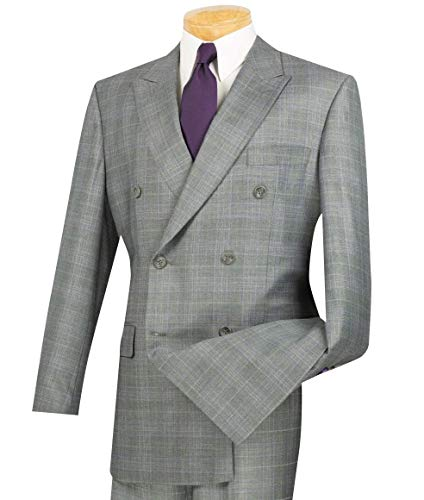VINCI Men's Glen Plaid Double Breasted 6 Button Classic-Fit Suit Gray | Size: 42 Regular / 36 Waist ()
