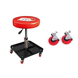 Torin Big Red Pneumatic Creeper Garage Mechanic Padded Stool + Caster Wheels