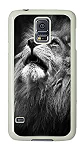 VUTTOO Rugged Samsung Galaxy S5 Case, Majestic Lion Portrait Hardshell Case for Samsung Galaxy S5 I9600 PC White
