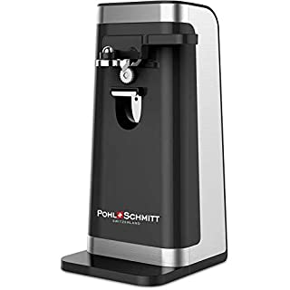 POHL SCHMITT Electric Can Opener, Easy Push Down Lever, Knife Sharpener, Bottle Opener & Built-In Cord Storage, Opens All Standard-Size and Pop-Top Cans