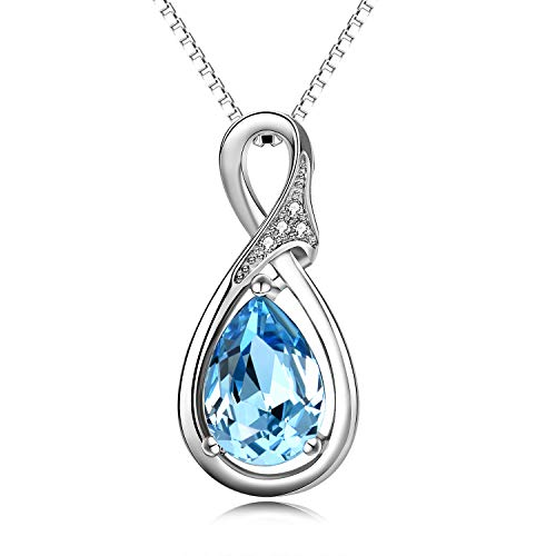 (AOBOCO 925 Sterling Silver Teardrop Pendant Necklace with Swarovski Crystals Aquamarine,March Birthstone Necklace Jewelry for Women (Silver Necklace))