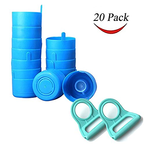 Thee-home 20 Pack Non Spill Caps Anti Splash Bottle Caps for 55mm 3 and 5 Gallon Water Jugs with 2 Pack Water Bottle Handle(Random color)