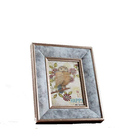 MYH- Retro Solid Wood Glass Photo Frame Decoration Indoor Arrangement Crafts Artwork Wedding Gifts 6 inches / 7 inches (Size : S) ()