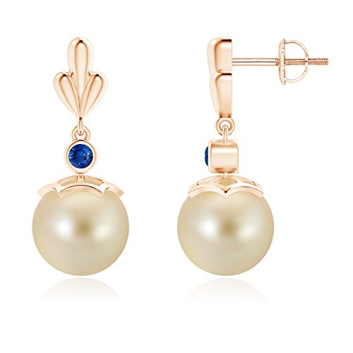 Golden South Sea Cultured Pearl & Sapphire Pear Motif Earrings in 14K Rose Gold (9mm Golden South Sea Cultured Pearl)