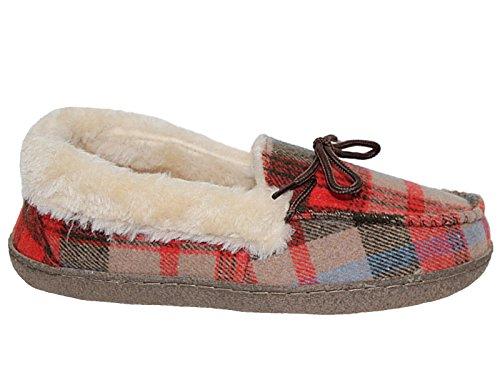 de Chaussures 3 Femmes doublé Chaussons Taille Tartan fausse fourrure Nessie t0qZzUB