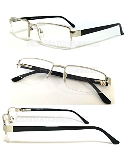 Silver Frame Black Arms Man Reader Metal Frame Spring Temple Reading Glasses - RE34 Assorted Color - Gianni Shades Versace