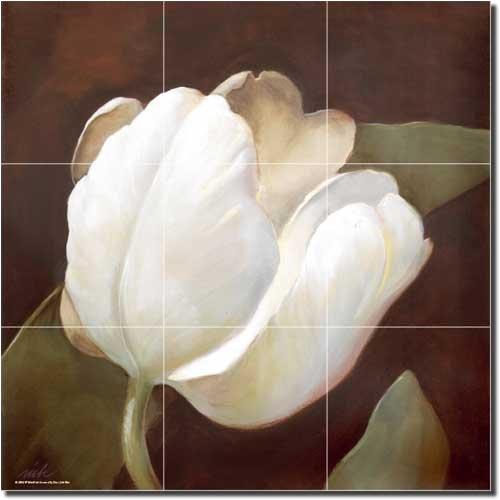 White Tulip by Wilder Rich - Flower Floral Ceramic Tile Mural 12.75