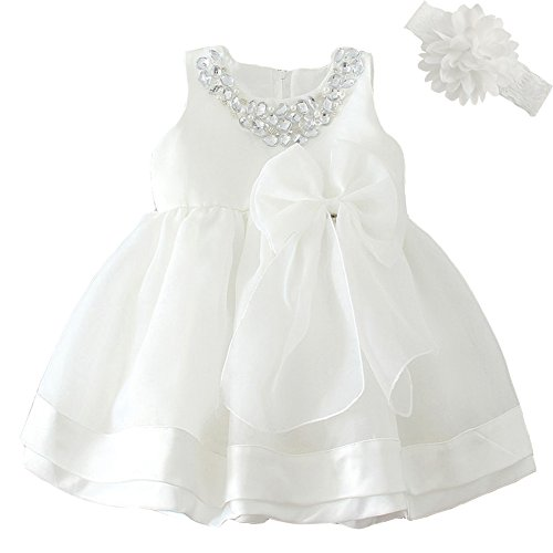 Baby Girl Dress Christening Baptism Gowns Sequined Formal Dress White 6-12 Months