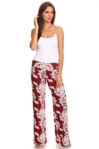 (Sharon's Outlet Women's Printed Palazzo Pants: Damask Burgundy)
