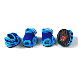 SELMAI Fashion Dog Sandals Boots Waterproof Dog Shoes Adjustable Summer Blue L,for Small Dog Cat Puppy
